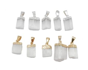 Selenite Freeform Petite Pendant wiith 24k Gold or Silver Electroplated Cap and Bail (S57B30a)