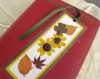 Fall Bookmark Pressed Fall Autumn Leaves and Flowers Laminated Bookmark