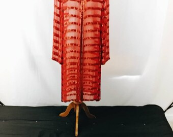 Long Red Striped Duster Jacket