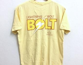 RARE!!! Lightning Bolt Big Logo SpellOut Crew Neck Yellow Colour T-Shirts Medium Size