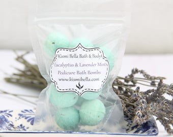 Pedicure Bath Bombs, Mini Bath Bombs, Spa Gift Set, Eucalyptus and Lavender Mint, Bridesmaids Gifts, Wedding Favors, Stocking Stuffers
