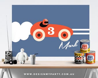 Vintage Race Car Theme Candy Buffet Backdrop Banner (Personalised DIY Printables)