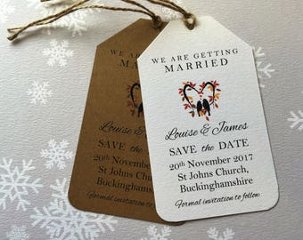 Vintage/Rustic Love Birds Wedding Save the Date tags