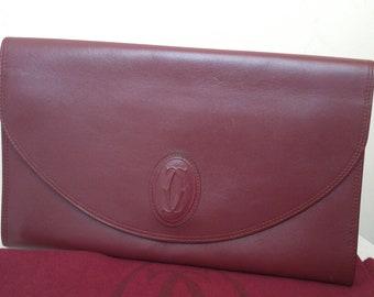 Must de Cartier, Bordeaux leather Handbag