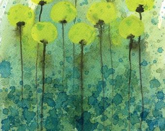 Watercolor Painting: Watercolor Flower Painting -- Art Print --  Underwater Flowers -- Yellow Flowers -- 11x14