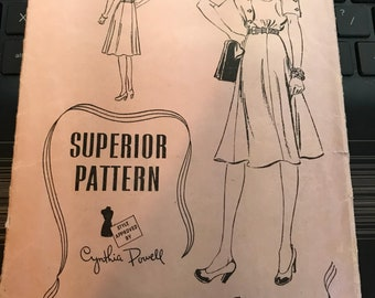 Vintage 30s Superior 9754 Dress Pattern-Size 16 (34-28-37)