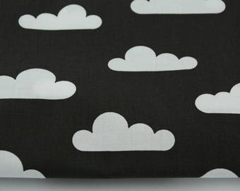 50 x 160 cm cotton 100% black cotton cloud fabric by the yard, the