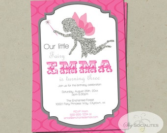 Pink & Silver Glitter Fairy Invitation | Fairy Princess, Fairy Birthday, Girls Birthday, Pixies, Pink, Grey | PDF Instant Download