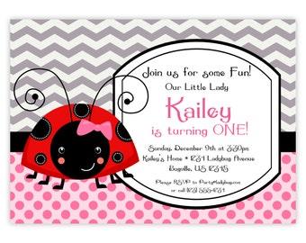 Ladybug Invitation - Grey Chevron and Pink Poka Dots, Cute Little Ladybugs Personalized Birthday Party Invite - a Digital Printable File