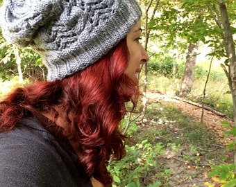 Cabled Lace Slouchy Hat Pattern Instant Download