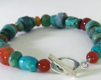 Turquoise Bracelet. Carnelian Handmade Jewelry. Turquoise and Carnelian Bracelet by thebeadedlizard on Etsy.