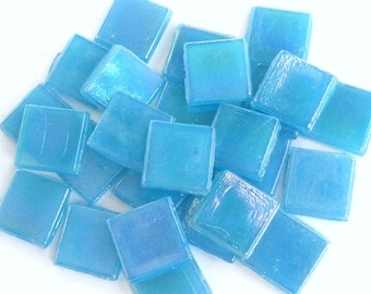 """15mm (3/5"""") Turquoise Blue Opalescent Glass Mosaic Tiles //Mosaic Supplies//Crafts//Mosaic Pieces"""