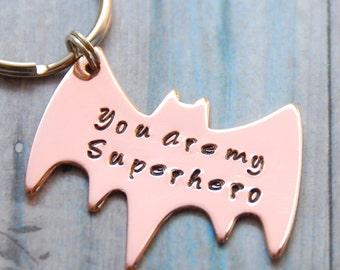 Superhero Keychain - Hand Stamped Copper Batman Key Ring - Fathers Day - Boyfriend Husband Partner