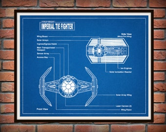 Star Wars Tie Fighter Drawing - Schematic - Art Print - Movie Poster - Wall Art - George Lucas Film - Return of the Jedi - The Force Awakens