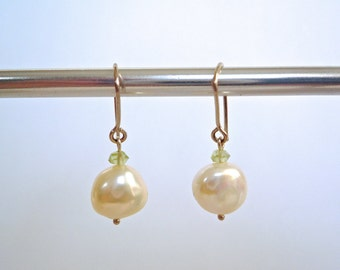 Creamy white freshwater pearl and peridot earrings on sterling silver wires, Simple pearl and gemstone dangles, Lovely bridal earrings