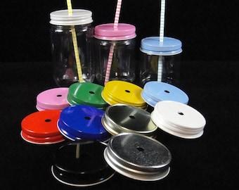 Mason Jar Straw Hole Lid, Mason Jars, Plastic Mason Jars, Kids Parties, Weddings, Baby Showers, Mason Jar Lids - 8 Lids ONLY