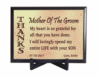 Gift from Bride to Grooms Mom Gifts - Mother of the Groom Parents Personalized Plaque - Mother in Law Thank You Wedding Gift - PHW012