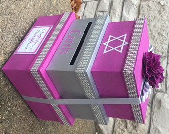 Custom Card Box, Bat Mitzvah, 3 Tier, Card Holder, Square, Purple and Silver, Glitter and Sparkle