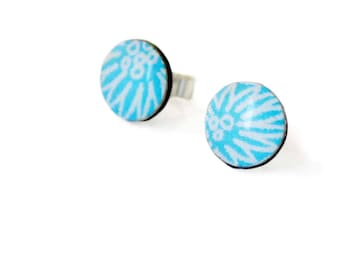 Light blue stud earrings, paper jewellery, , paper earrings, first anniversary, stocking filler, handmade, resin jewellery, sterling silver