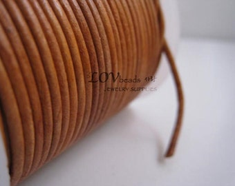 Natural Round Leather, Natural Tan Leather Cord, natural dye, 2mm cord