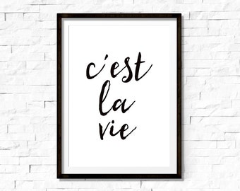 c'est la vie, print, french quote, french print, printable wall art quote, typography poster, black and white
