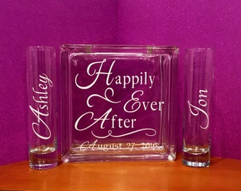 Unity Sand Ceremony Glass Containers - Glass Block with Happily Ever After - Personalized with your Wedding Date - 2 side vases with Names