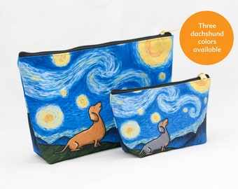 "Dachshund Pouch Accessory Bag Two Sizes - ""Starry Baroo"" Travel Bag/Makeup Bag - 3 Dachshund colors to choose from - Wiener Dog - Doxie"