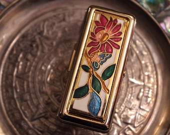 Cloisonne Lipstick Mirror Ring With Red Flower