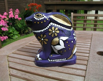 Mexican Sugar Skull Rabbit, Purple & Gold, Upcycled.