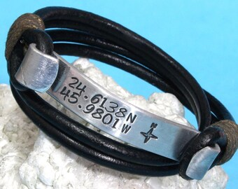 EXPRESS SHIPPING -Personalized Gift for him - Hidden Secret Message Bracelet ,Mens Personalized ,Hidden Message Leather Wrap Bracelet