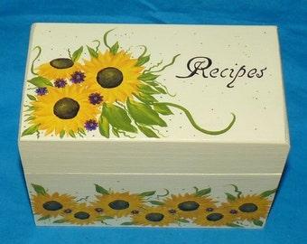 Wedding Recipe Box, Sunflowers Recipe Box, Decorative Wood Recipe Box, Victorian Recipe Box, Personalized, Custom, Painted