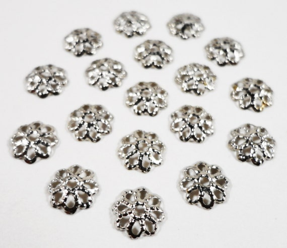 Silver Bead Caps 7mm Antique Silver Bead Caps Dark Silver End Caps Filigree Beadcaps Thin Textured Flower Bead Caps Jewelry Findings 100pcs