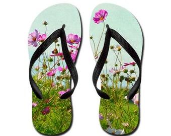 Summertime Flip Flops Thongs - pink, flowers, summer,  magic, Photography RDelean
