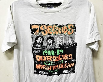 VINTAGE 80s 1989 7 SECONDS 50/50 PUNK rock hardcore concert tour t shirt sxe