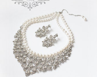 Wedding Jewelry Rhinestone Necklace Double Strands Swarovski Pearl Necklace Bridal Necklace Bridal Jewelry Bridesmaids Necklace - ACIA