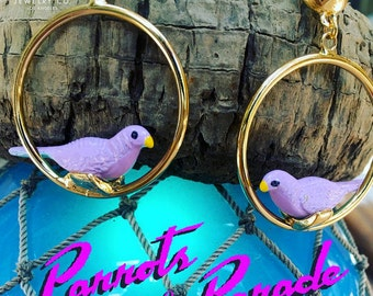 Retro Novelty Parrot Bird Hoop Earrings, Parrots on Parade, Bridesmaid Gift