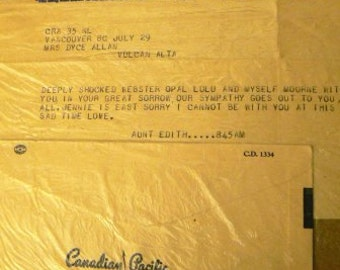 vintage ephemera  ... CANADIAN PACIFIC TELEGHRAPHS telegram 1956 ephemera no 2  ...