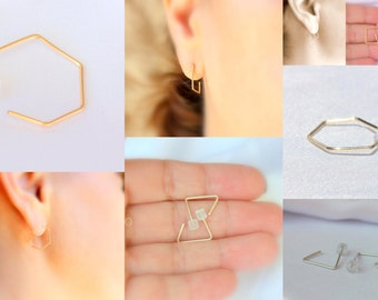 Rose Gold Hoops, Hexagon Earrings, Gold Hexagon, Small Triangle Hoop Earrings, 14K Gold Square Earrings, Rose Gold, Everyday Earrings