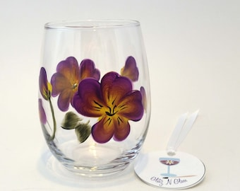 Hand Painted Pansy Stemless Wine Glass