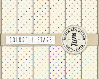 BUY5FOR8 Stars Digital Paper Star Paper Star Patterns Digital Scrapbooking 12 JPG 300 DPI Files Download