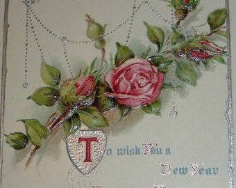 Many Happy Days, Pink Roses and New Year Wishes Antique Postcard