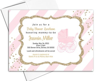 Girl baby shower invitation, gold and pink baby shower invites with stripes, vintage baby carriage - PRINTED - WLP00736