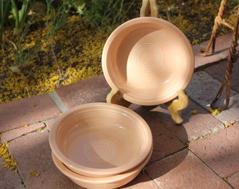 1986 - 1998 Vintage Homer Laughlin - FIESTA - Apricot - Three ( 3 ) Coupe Soup Bowls -  7 inches - Excellent Condition