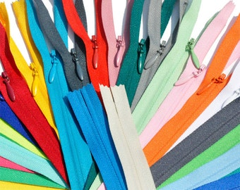 YKK Zipper-Twelve 18 inch YKK Conceal - Invisible Assortment  - to match your bright, light, and neutral designer fabrics