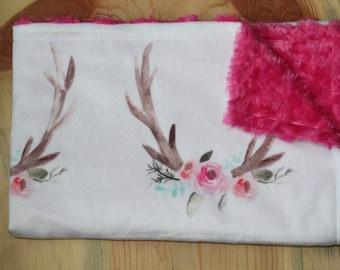 Woodland Baby Girl Lovey- Woodland Baby Girl Blanket- Rustic Baby Blanket- Watercolor Antlers- Baby Shower Gift