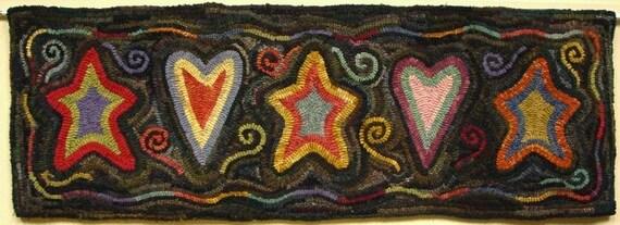 "Rug Hooking PATTERN, Sweet Dreams, 12"" x 36"", J631, Primitive Stars and Hearts Rug Design"