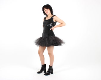 80s Sequin + TULLE Tutu Puff Metallic Black / Cute Dolly 50s Style Ruffle Full Skirt Mini Cocktail Dress