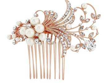 Vintage rose gold headpiece & bracelet duo.rose gold gatsby, rose gold pearl hair comb, rosegold headpiece, rose gold vintage style,