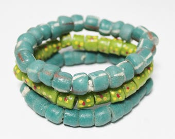 Green African Krobo Beads, Recycled Glass Beads, Jewelry Supplies (AP199)