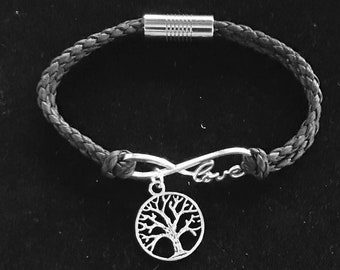 Tree of Life, Infinity Love Charm Leather Bracelet.